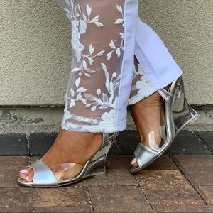 Metallic Silver/Clear Lucite Heel Wedge Sandal